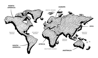 Vector Of World Map Ink And Pen Style / Vector Of World Map With Continents  Name
