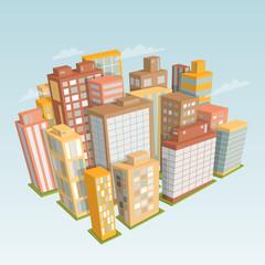 City landscape. Isometric view. Cartoon vector illustration