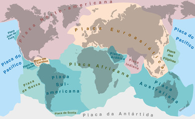 Tectonic Plates - PORTUGUESE NAMES! - world map with major an minor plates - vector illustration.