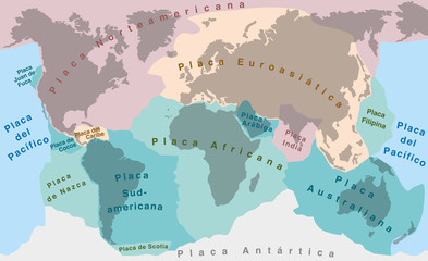 Tectonic Plates - SPANISH TEXT! - world map with major an minor plates - vector illustration.
