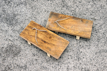 wood sandals japanese style. Traditional shoes made of wood.