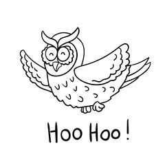 Cute cartoon wise flying owl