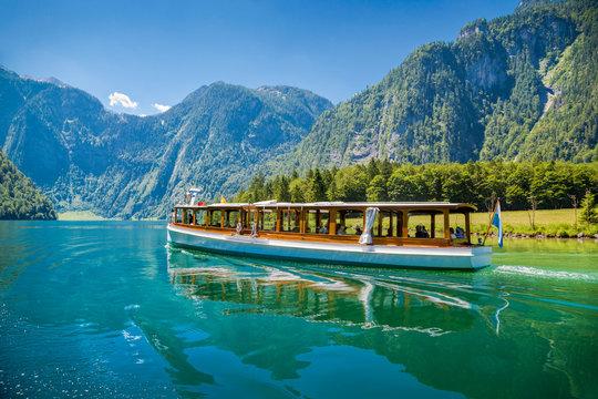 Passenger boat on the Koenigssee near Berchtesgaden, Bavaria, Ge