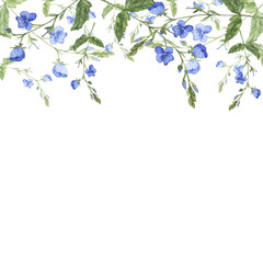 Blue flowers border. Greeting card. Invitation. Forget me not blooming. Hand drawn watercolor illustration.