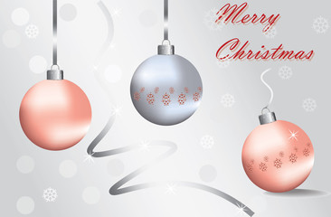 Merry Christmas Sparkling baubles with snowflake ornament in silver and red colors. Vector