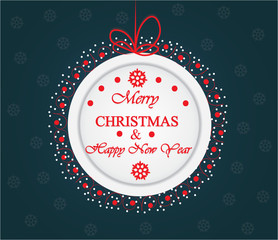 Merry Christmas and Happy New Year card. Vector