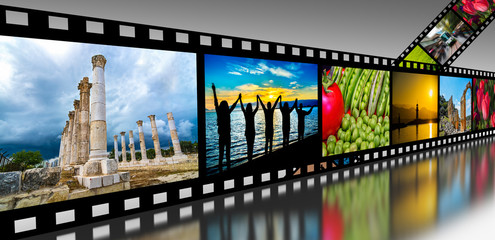Film strip with vibrant photographs