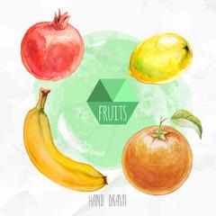 Watercolor hand painted fruit set. Eco food illustration. Watercolor green background. Ripe orange fruit, lemon, banana and pomegranate. Tropical fruits.