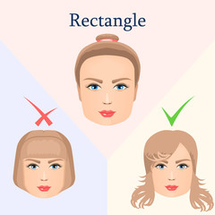 Hairstyle for a rectangular face