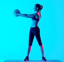 woman fitness Medicine Ball exercices isolated