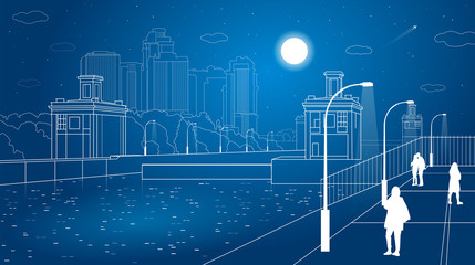 Gateways, night city embankment, people walk, city infrastructure, vector design art