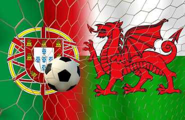 Football teams Portugal and Welsh