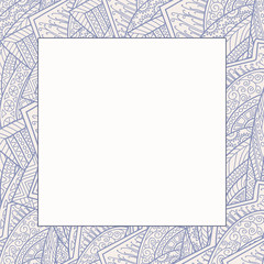 Decorative frame from abstract elements of hand-drawn .  Style zentangl.