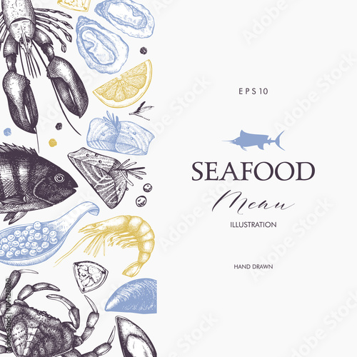 Vector frame with hand drawn seafood illustration - fresh fish ...