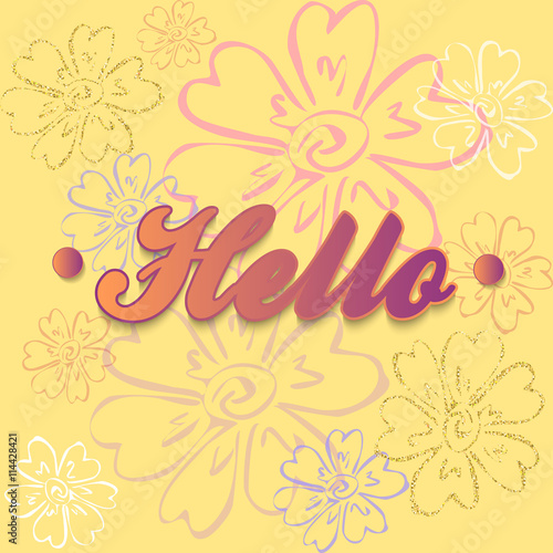 Quot hello inscription card with calligraphy on a yellow