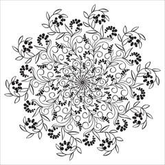 Hand drawing floral mandala, zentangle element.