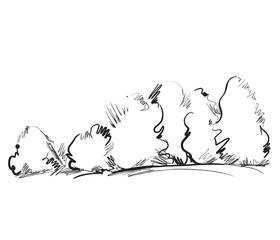 Hand drawn cartoon tree.