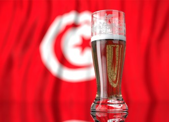 a glass of beer in front a turkish flag. 3D illustration rendering.