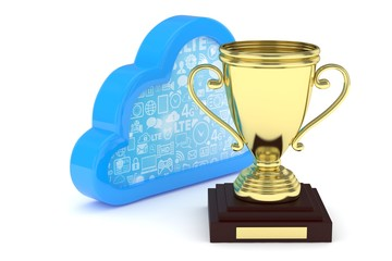 Isoalted golden cup with cloud on white background. Blue contour cloud. Concept of cloud storage competition. Leader cloud drive. Best storage contest. 3D rendering.