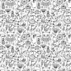 Doodle summer set vector seamless pattern. Animals, birds hand drawn illustration background.