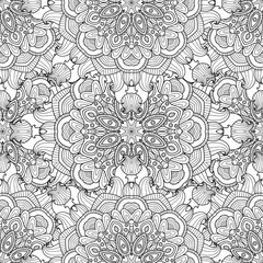 Abstract vector decorative ethnic mandala black and white seamless pattern.