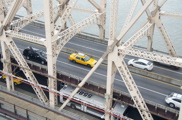 High angle view of vehicles on Queensboro Bridge over East River