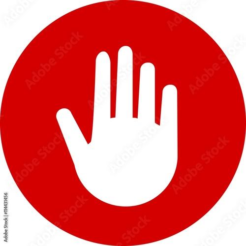 Hand Stop Stop Halt Icon Sign Symbol Logo Button Concept Silhouette