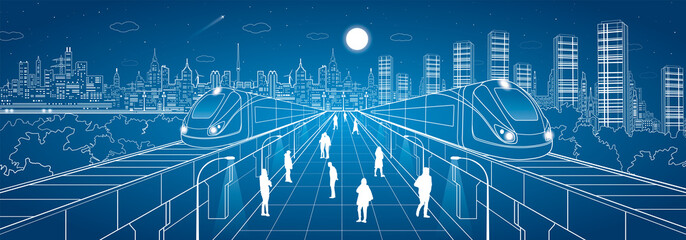 Infrastructure and transport panorama, people walk on the square, two train move over bridges, night city in the background, business buildings, vector design art