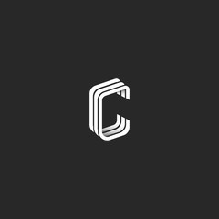 Isometric letter C logo hipster monogram, graphic design emblem for business card, idea creative line style boutique identity