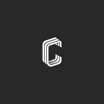 Isometric letter C logo hipster monogram, graphic design emblem for business card, idea creative line style boutique identity