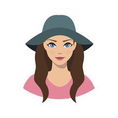 Avatar icon of girl in a wide brim felt hat