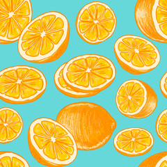 Seamless citrus pattern with hand-drawn oranges on a blue background. Vector.