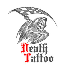 Skeleton with racing flag for tattoo design