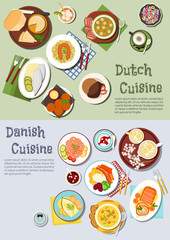 Festive dishes of dutch and danish cuisines icon