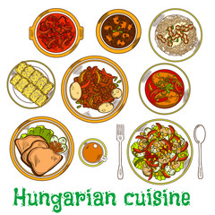 Nutritious dishes of hungarian cuisine sketch icon