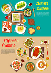 Healthy seafood and meat dishes of chinese cuisine