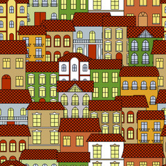 Seamless old town cityscape pattern background
