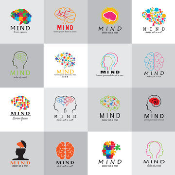 Mind Icons Set - Isolated On Background - Vector Illustration, Graphic Design. For Web, Websites, Print, Presentation Templates, Mobile Applications And Promotional Materials