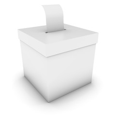 Blank Ballot Box with Polling Card 3D Illustration