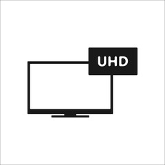 Uhd tv simple icon on background