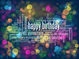 """HAPPY BIRTHDAY"" Vector Card with Colourful Bokeh Lights Background"