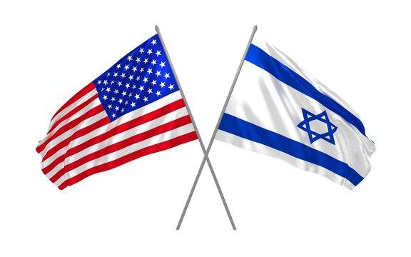Israel and USA flags waving