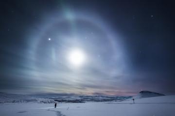 Aurora around moon, Finland