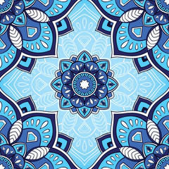 Blue pattern of mandalas.