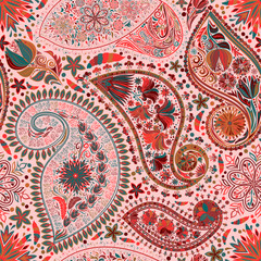 Paisley vintage floral motif ethnic seamless background. Printable colors abstract lace pattern. Editable colors without losing seamlessly. Hand drawing motley wallpaper. EPS-8 vector buta texture