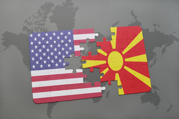 puzzle with the national flag of united states of america and macedonia on a world map background