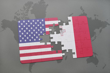 puzzle with the national flag of united states of america and malta on a world map background