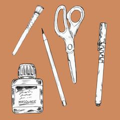 Set of art materials on pastel beige background. Art utensils. Sketch drawn by ink. Hand drawn vector illustration.