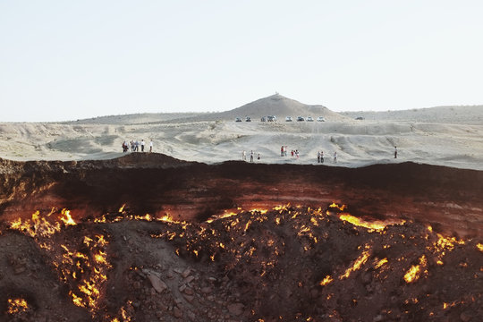 Fire burning in Darvaza gas crater