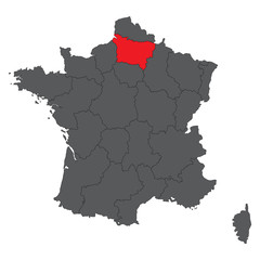 Picardy red map on gray France map vector